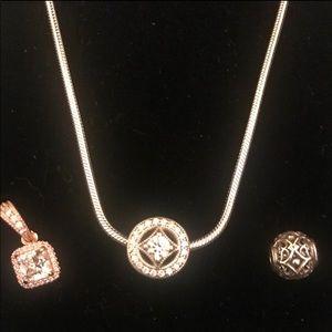 Pandora Silver Necklace w Three Pendants/Charms